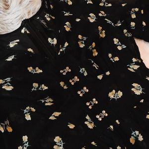 Tops - Sheer Black Floral Top